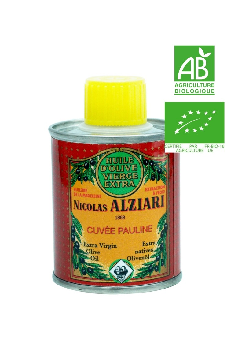 Huile d'olive Nicolas Alziari cuvée PAULINE 100 ml (Bidon) - Bio*