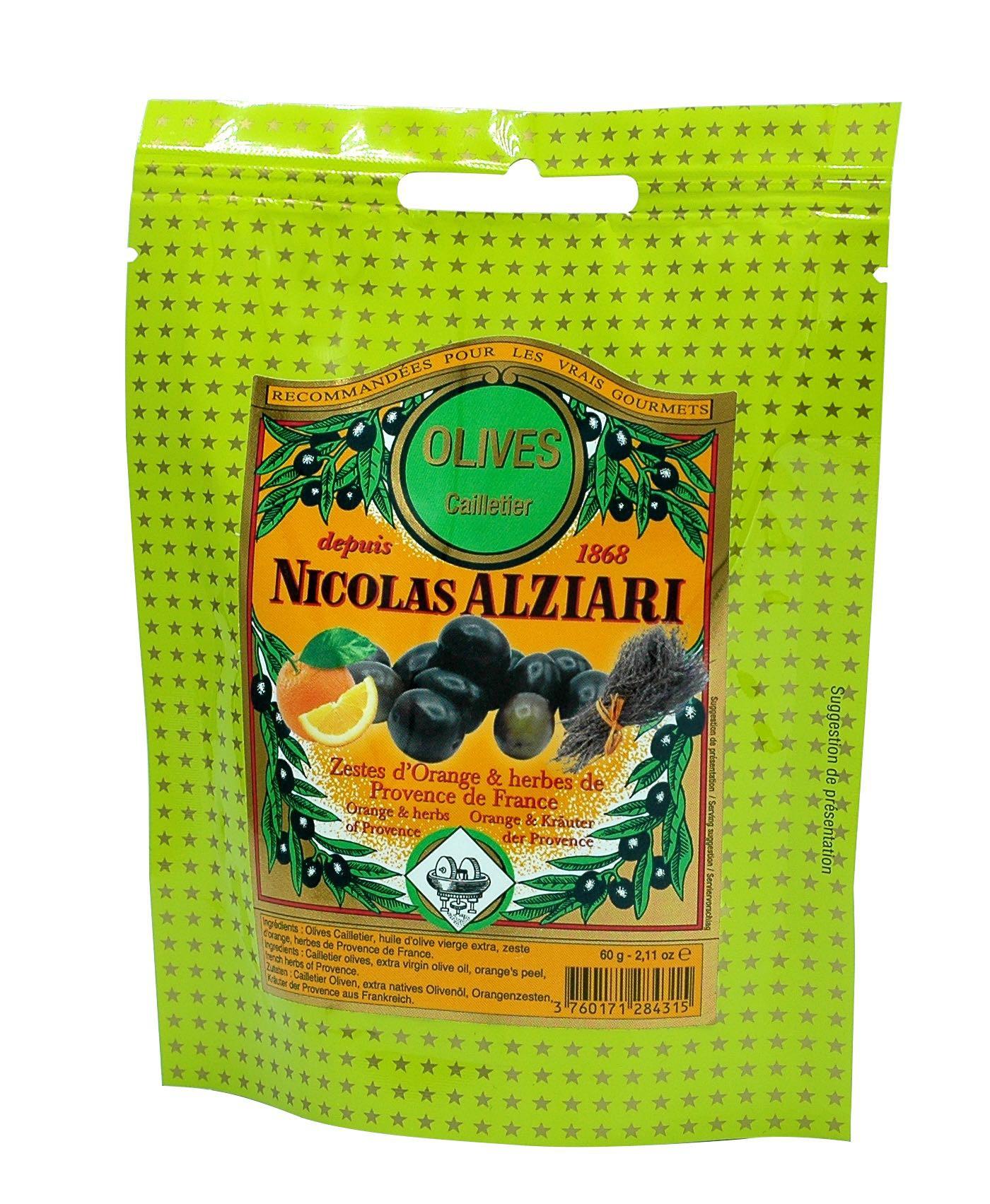 Olives : huile, zest d'oranges, herbes de Provence 60 g en sachet