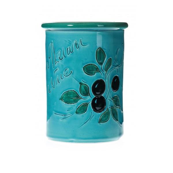 Pot à couverts turquoise 17 cm (poterie de vallauris)