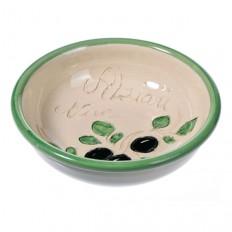 Coupelle blanche à olives et noyaux (poterie de Vallauris)