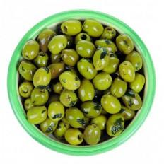 Olives Basilic frais, Ail et huile d'olive 125  gr