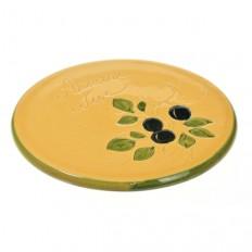 Repose plat jaune 21,5 cm (poterie de Vallauris)