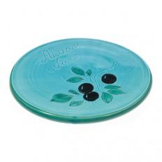Repose plat Turquoise 21,5 cm (poterie de Vallauris)