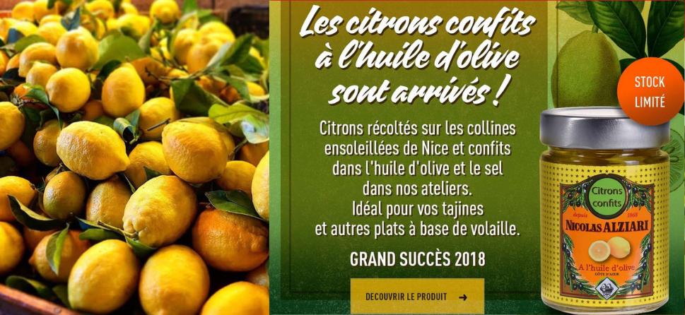 maison alziari; fabriquant d'huile d'olive; citrons confits