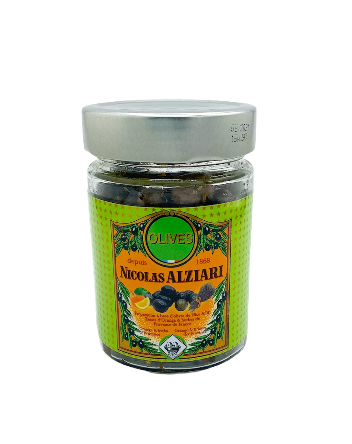 Bocal olives Cailletier: huile, orange et herbes de Provence 180 g