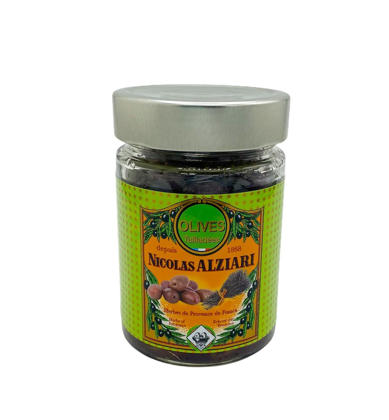 Bocal olives Tailladées: huile, herbes de Provence 180 g