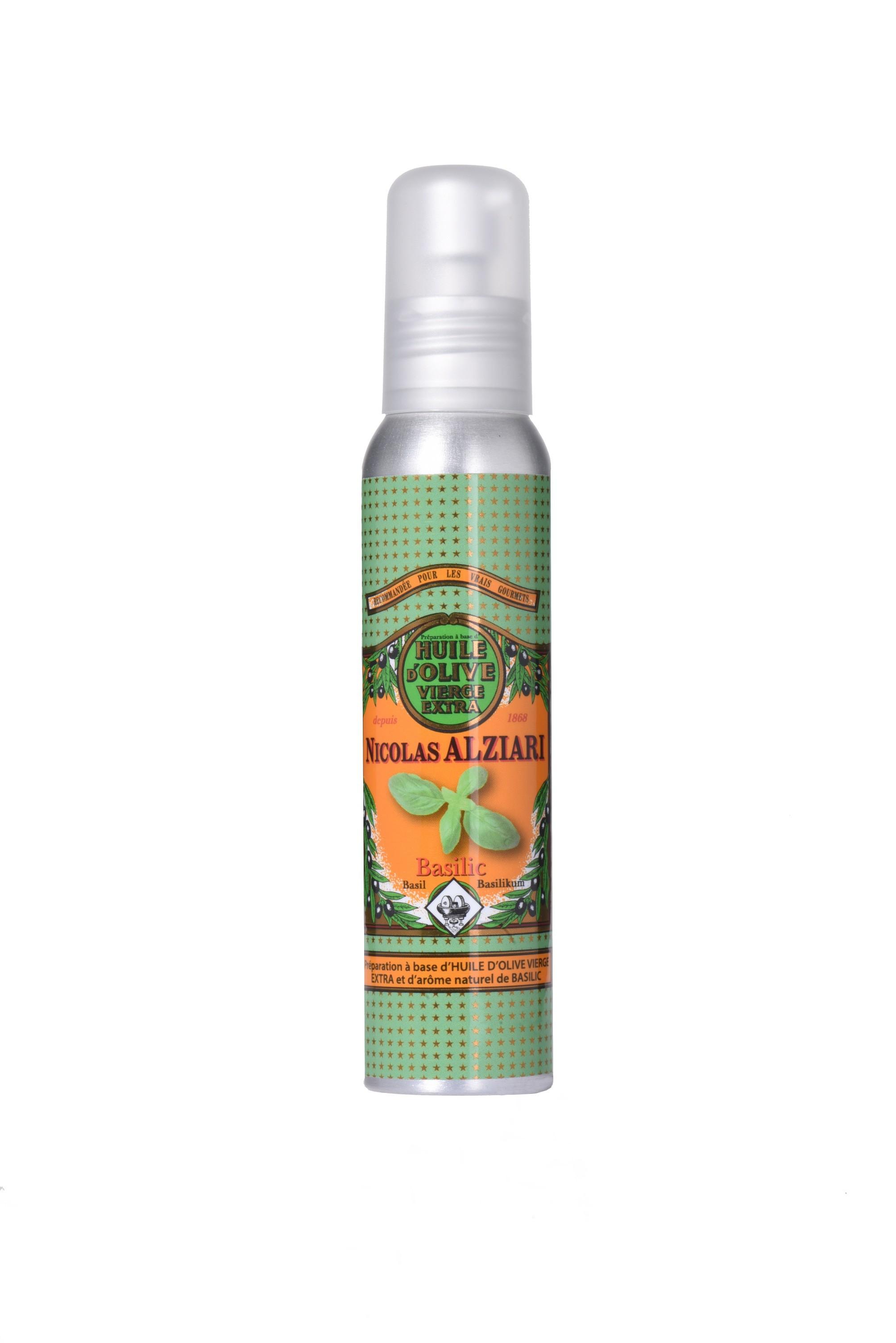 BASILIC - Préparation culinaire à base d'huile d'olive et d'arôme naturel BASILIC 100 ml (flacon pompe)