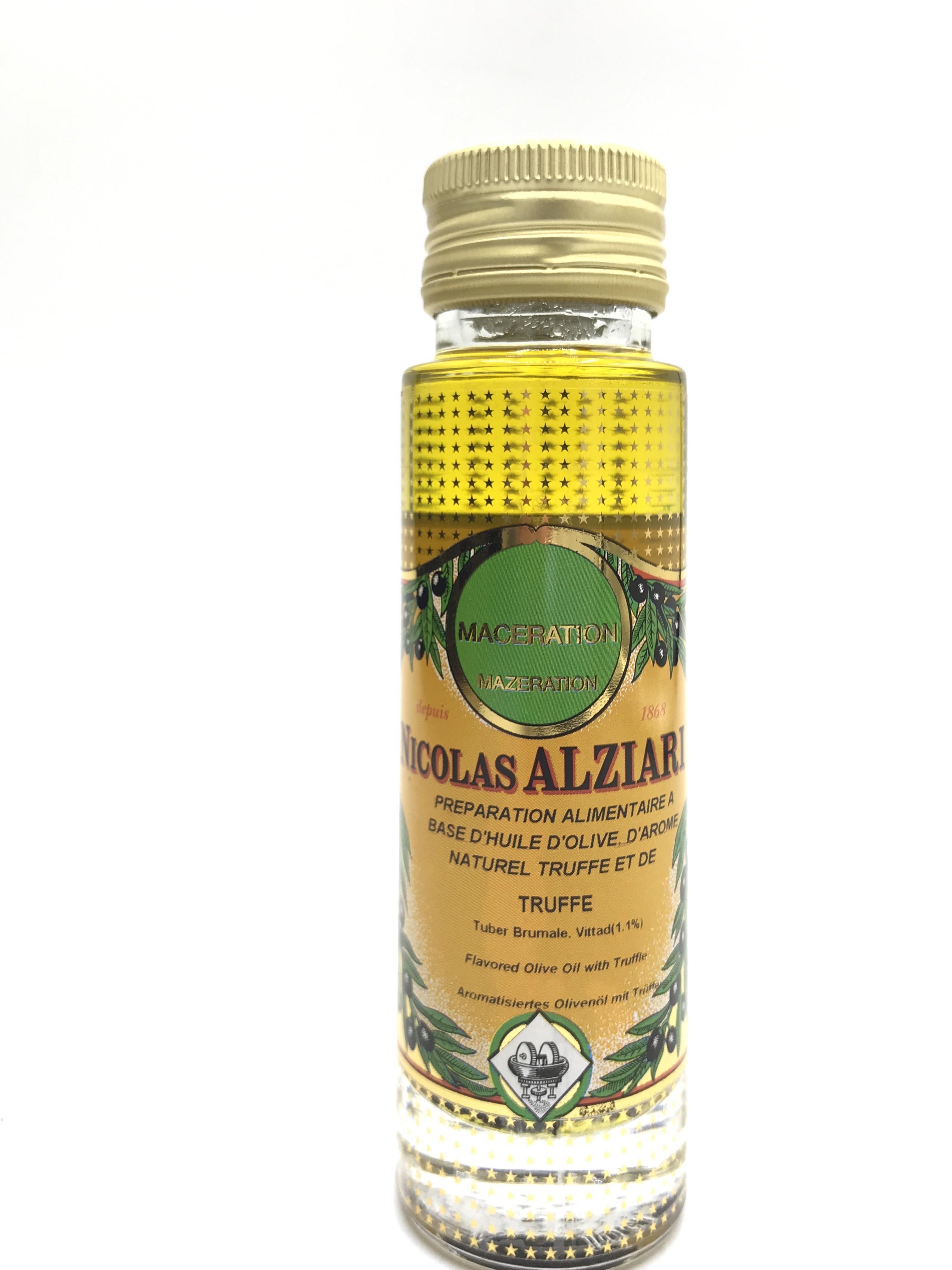 Préparation alimentaire à base d'huile d'olive, huile aromatisée et Truffe (tuber brumale 1,1%) 100 ml