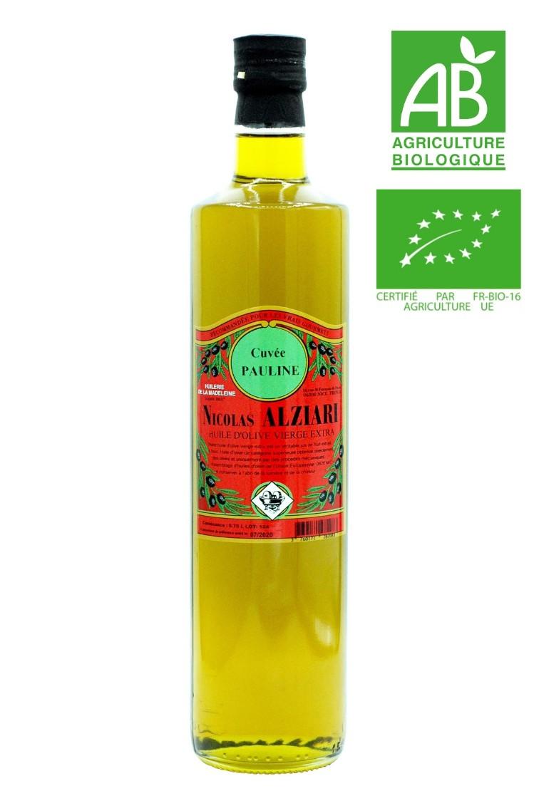 huile d'olive Nicolas Alziari cuvée PAULINE 75 cl - Bio*