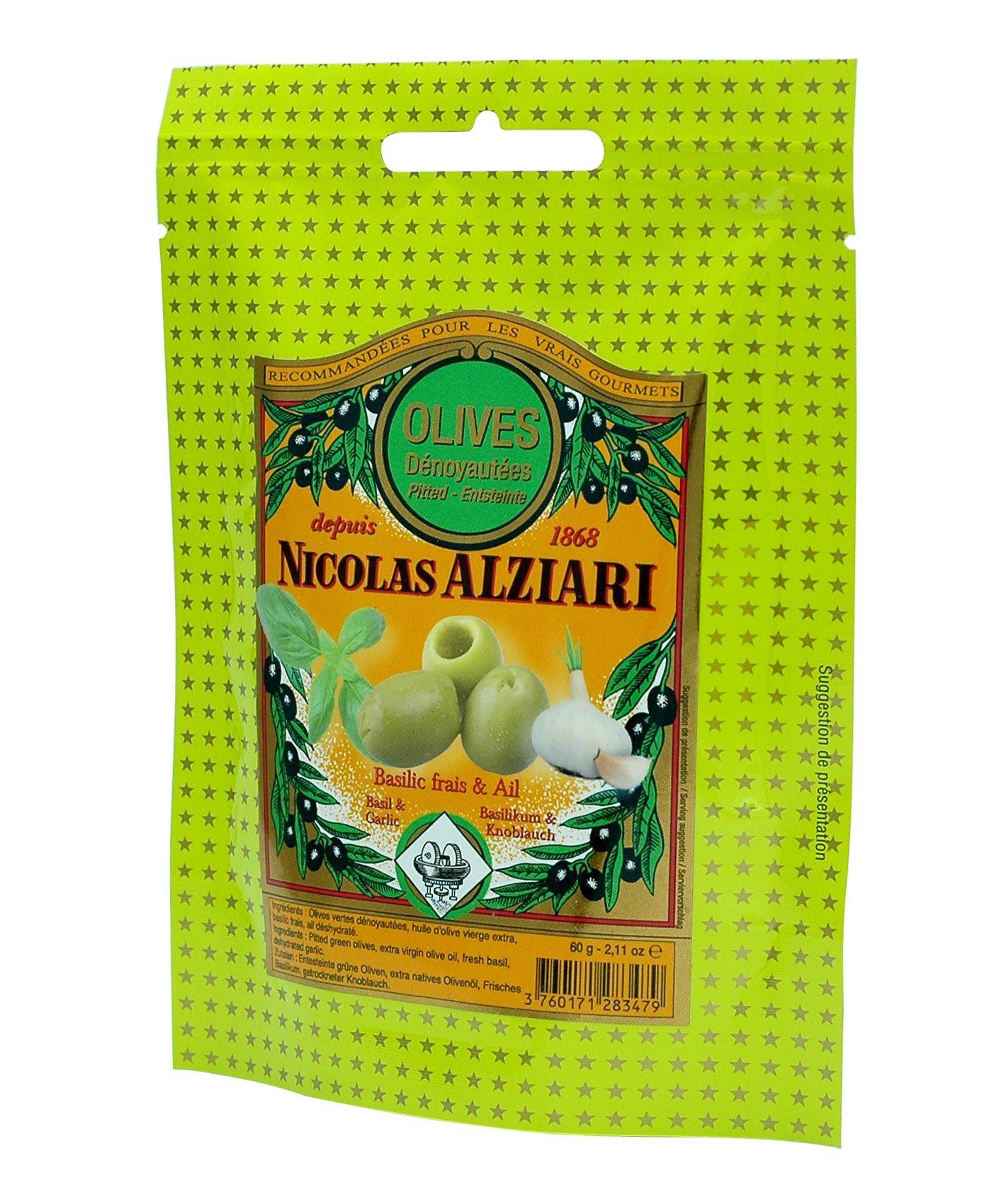 Olives Basilic frais, Ail et huile d'olive 60 g en sachet