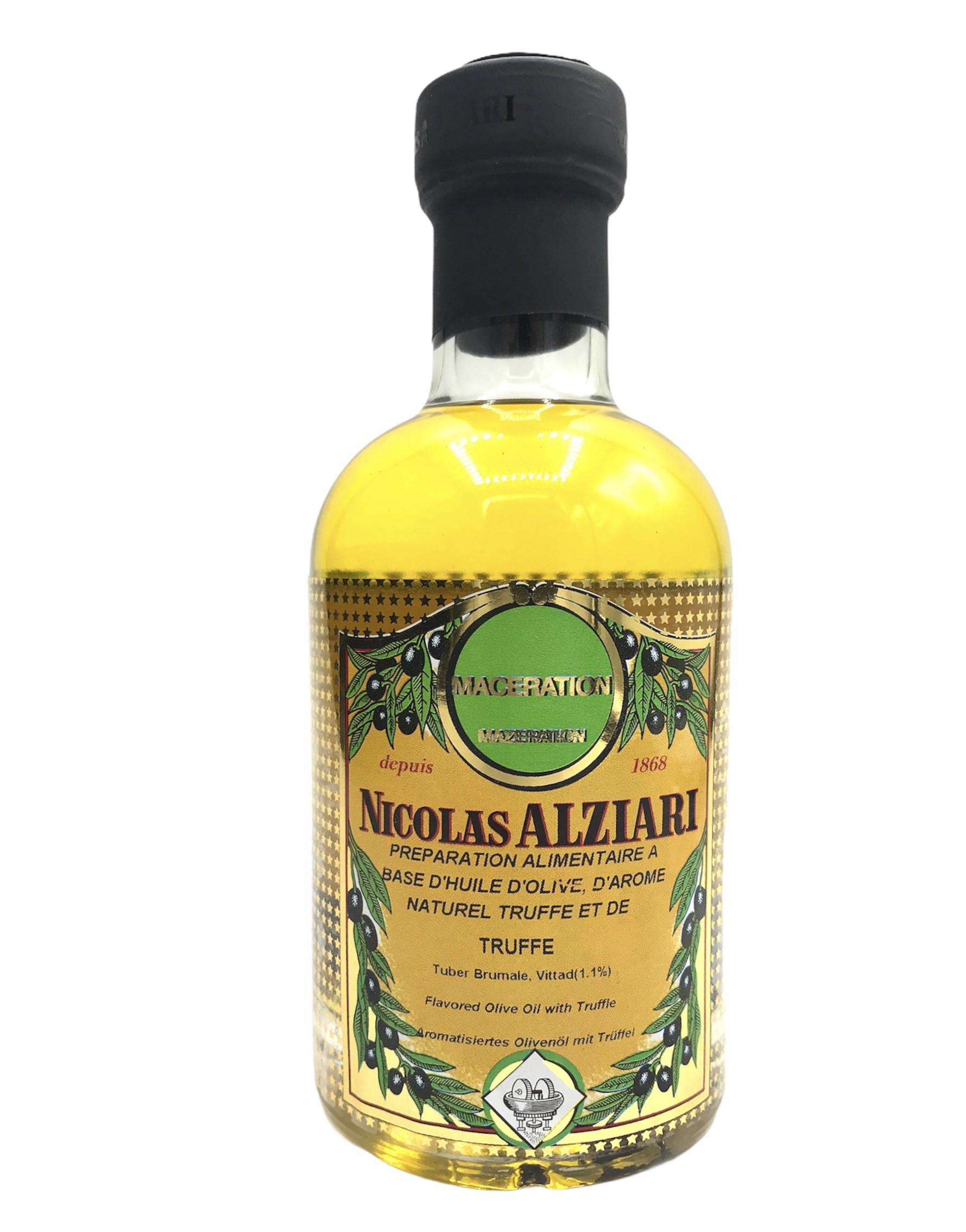 Préparation alimentaire à base d'huile d'olive, d'huile aromatisée et Truffe (tuber brumale 1,1%) 200 ml