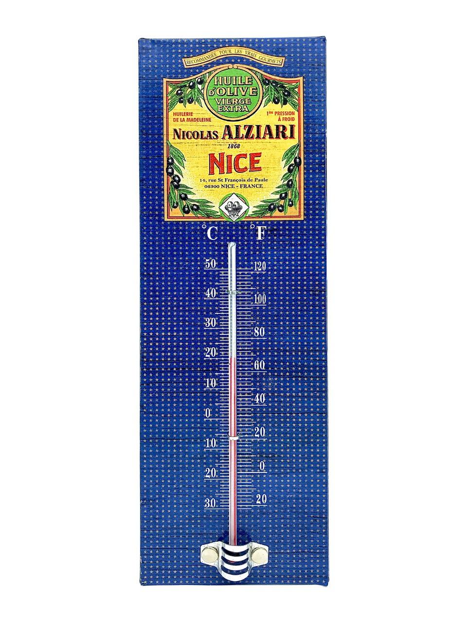 Thermomètre vintage Huile d'olive Nicolas Alziari Nice 8X25cm (métal)