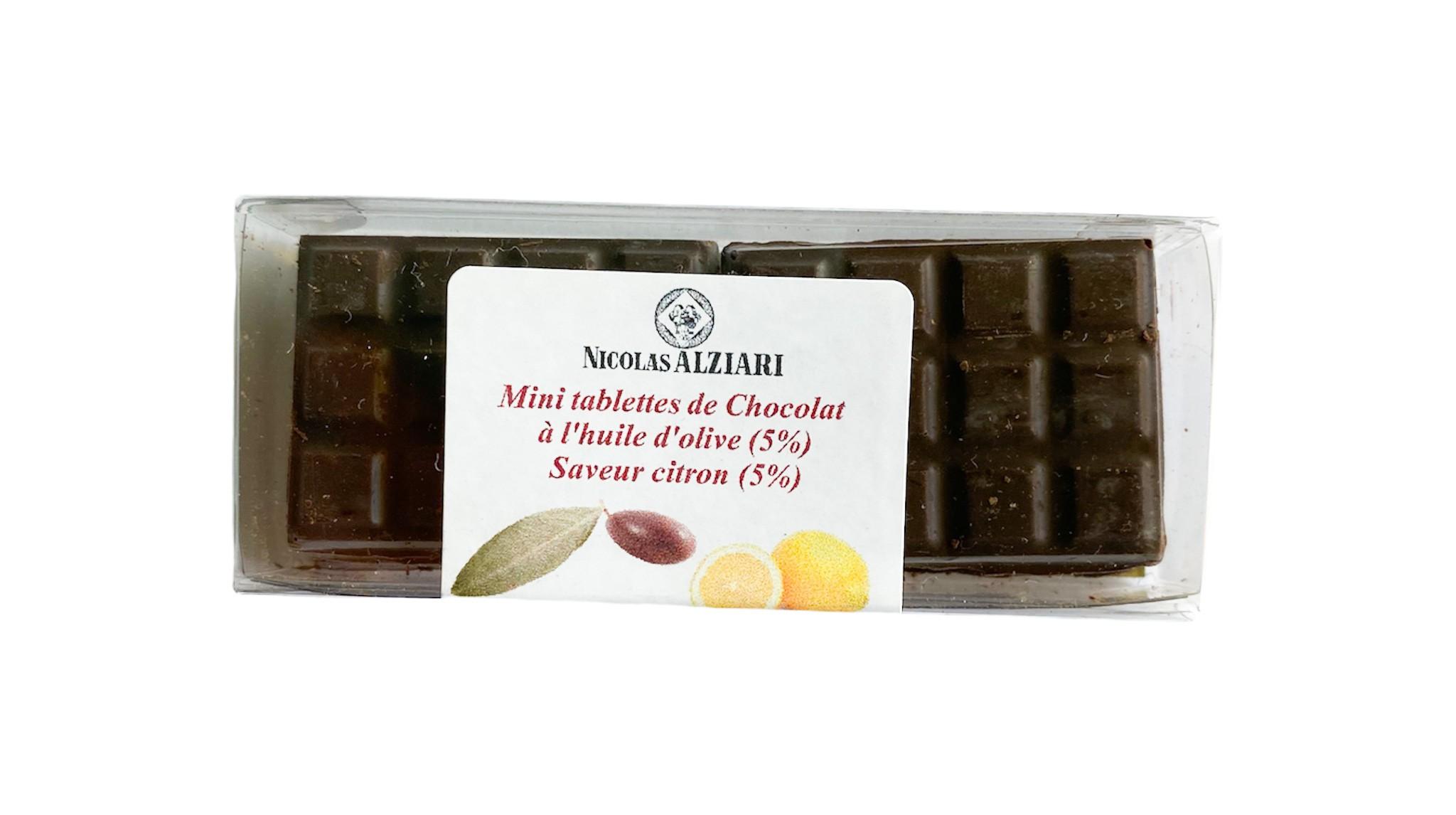 6 Mini Tablettes Chocolat à l'huile d'olive et Citron