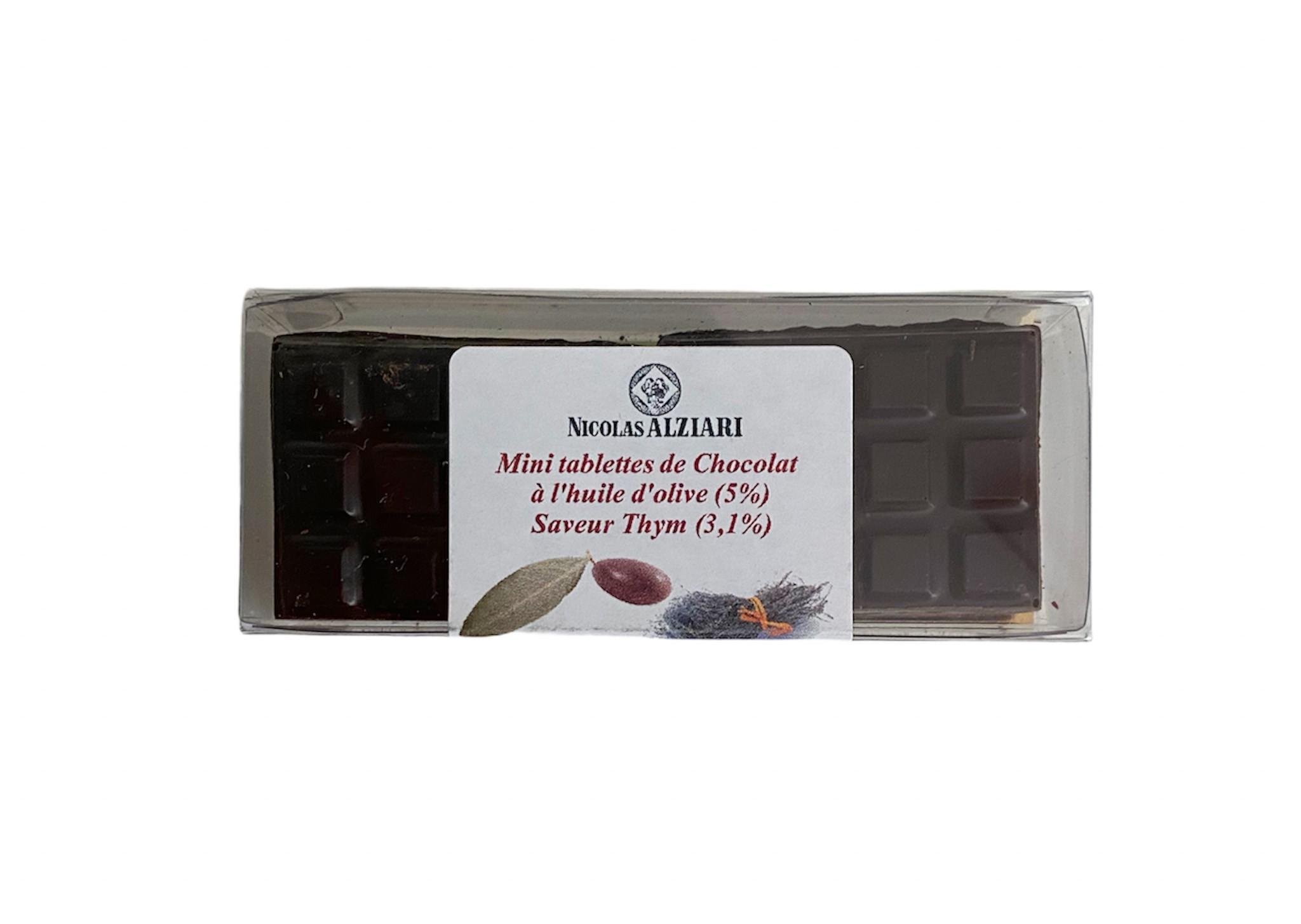6 Mini Tablettes Chocolat à l'huile d'olive et Thym