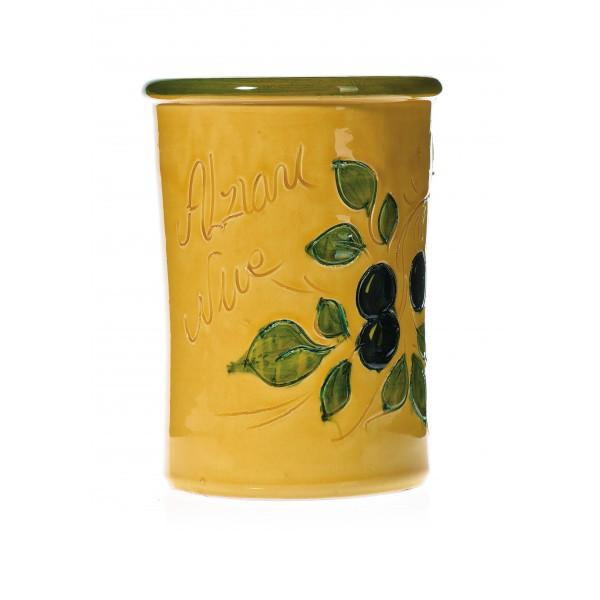 Pot à couverts jaune 17 cm (poterie de vallauris)