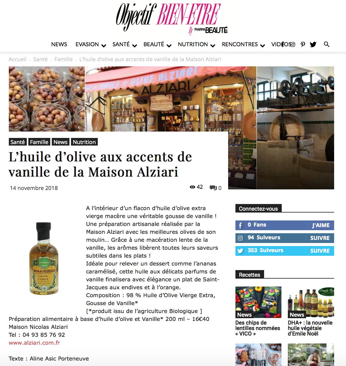 huile d'olive vanille; maison alziari; fabriquant d'huile d'olive